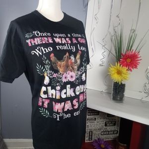 Once Upon A Time Floral Chicken Tee Med Farm Life